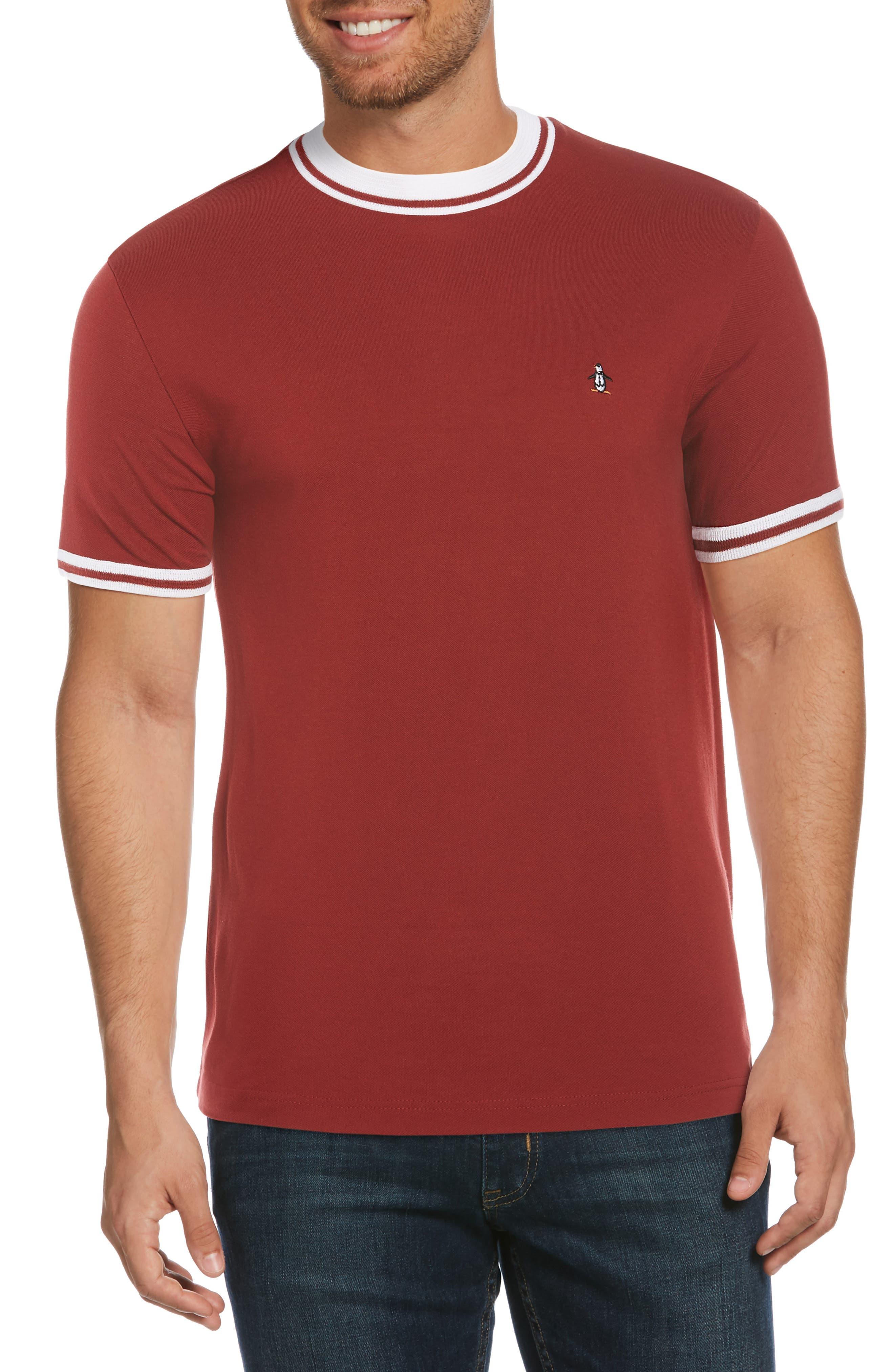 80s Men's Clothing | Shirts, Jeans, Jackets for Guys Mens Original Penguin Mock Neck Pique T-Shirt Size XX-Large - Red $59.00 AT vintagedancer.com