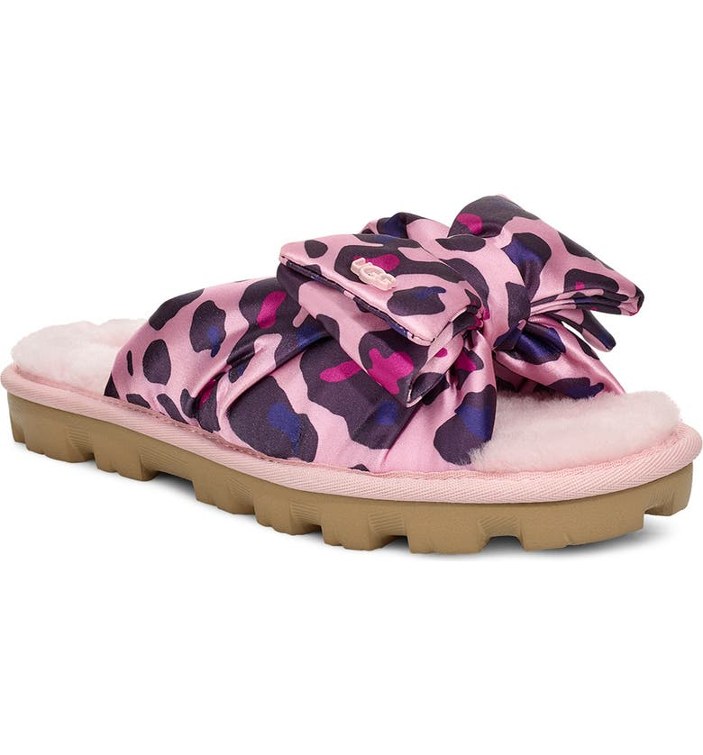 UGG<SUP>®</SUP> Lushette Puffer Genuine Shearling Slide, Main, color, FAIRY TALE FABRIC