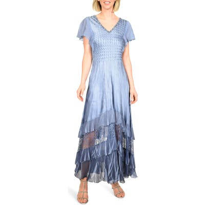 Petite Komarov Charmeuse & Chiffon Maxi Dress, Blue