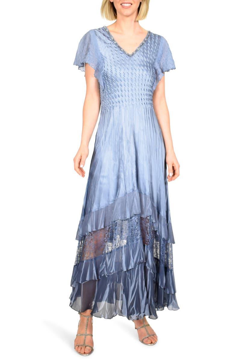KOMAROV Charmeuse & Chiffon Maxi Dress, Main, color, PERSIAN VIOLET BLUE OMBRE