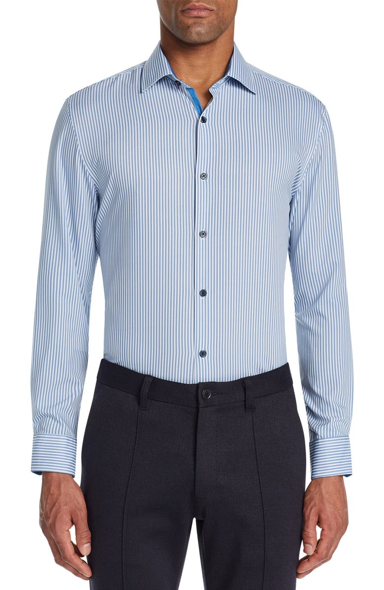 W.R.K Trim Fit Stretch Stripe Performance Dress Shirt, Main, color, WHITE/ BLUE