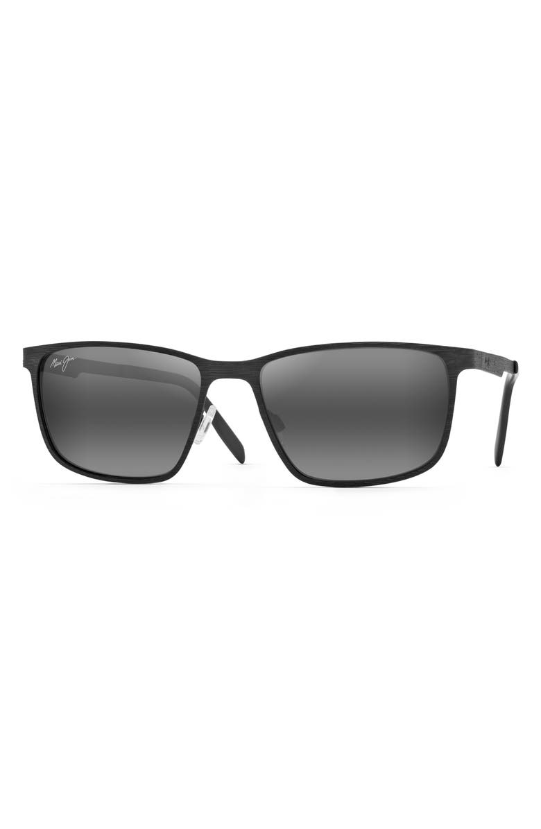 MAUI JIM Cut Mountain 55mm Polarized Sunglasses, Main, color, BLACK