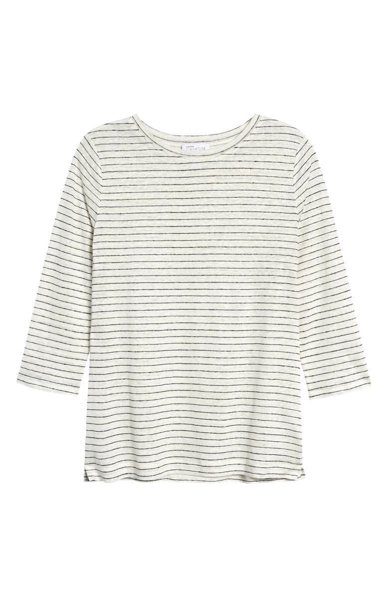 NORDSTROM SIGNATURE Stripe Linen T-Shirt, Main, color, 900