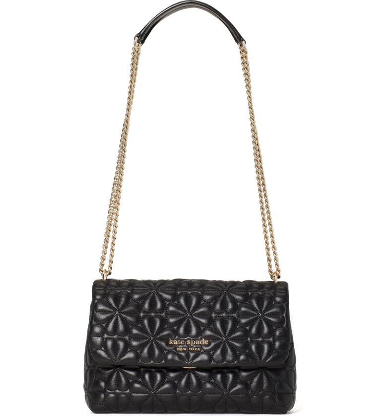 KATE SPADE NEW YORK blooms medium leather shoulder bag, Main, color, BLACK