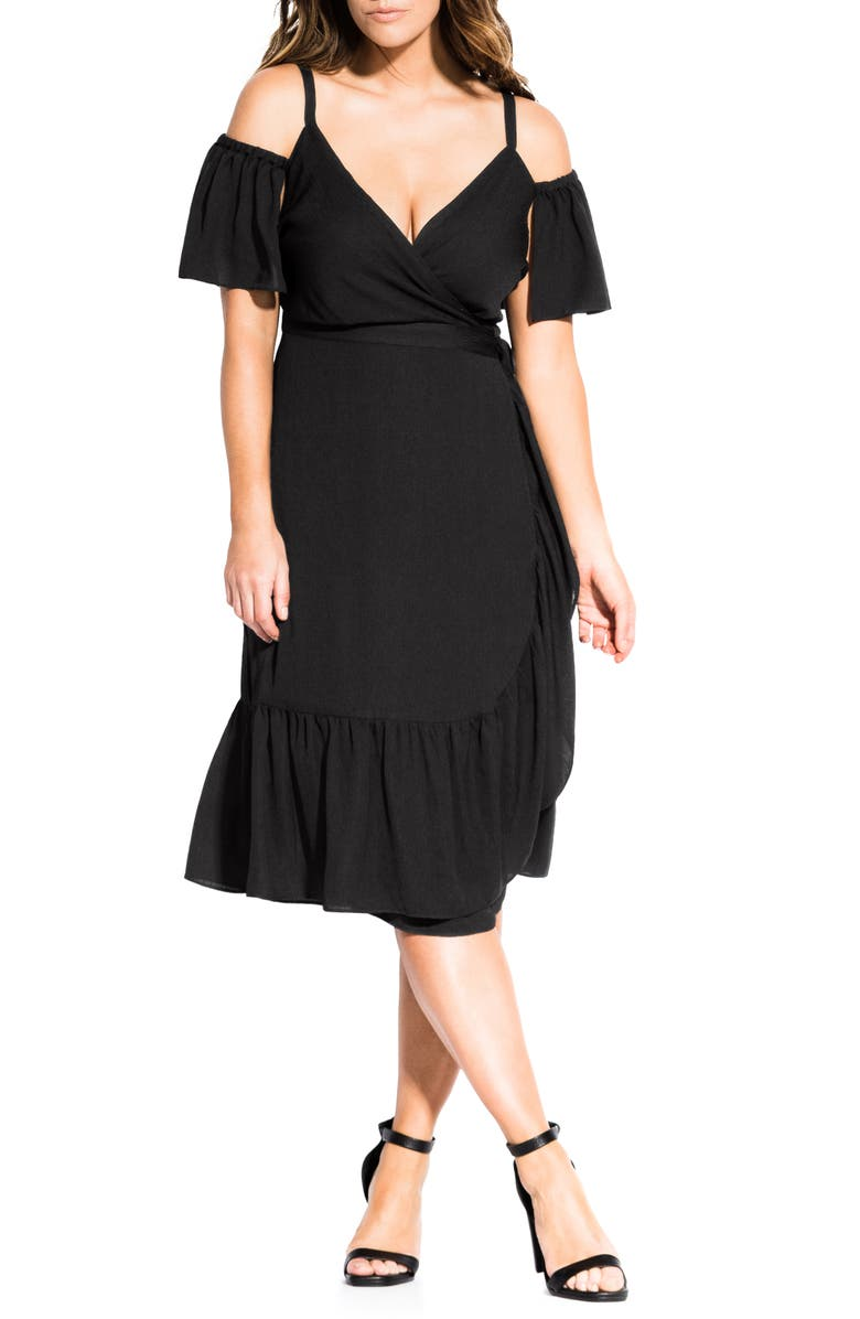CITY CHIC Cold Shoulder Wrap Dress, Main, color, BLACK