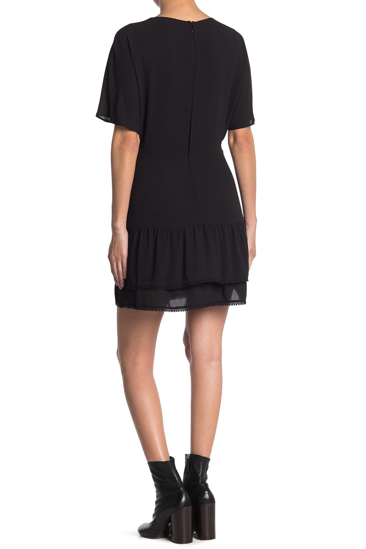 Image of ALLSAINTS Marley V-Neck Short Sleeve Tiered Ruffle Dress