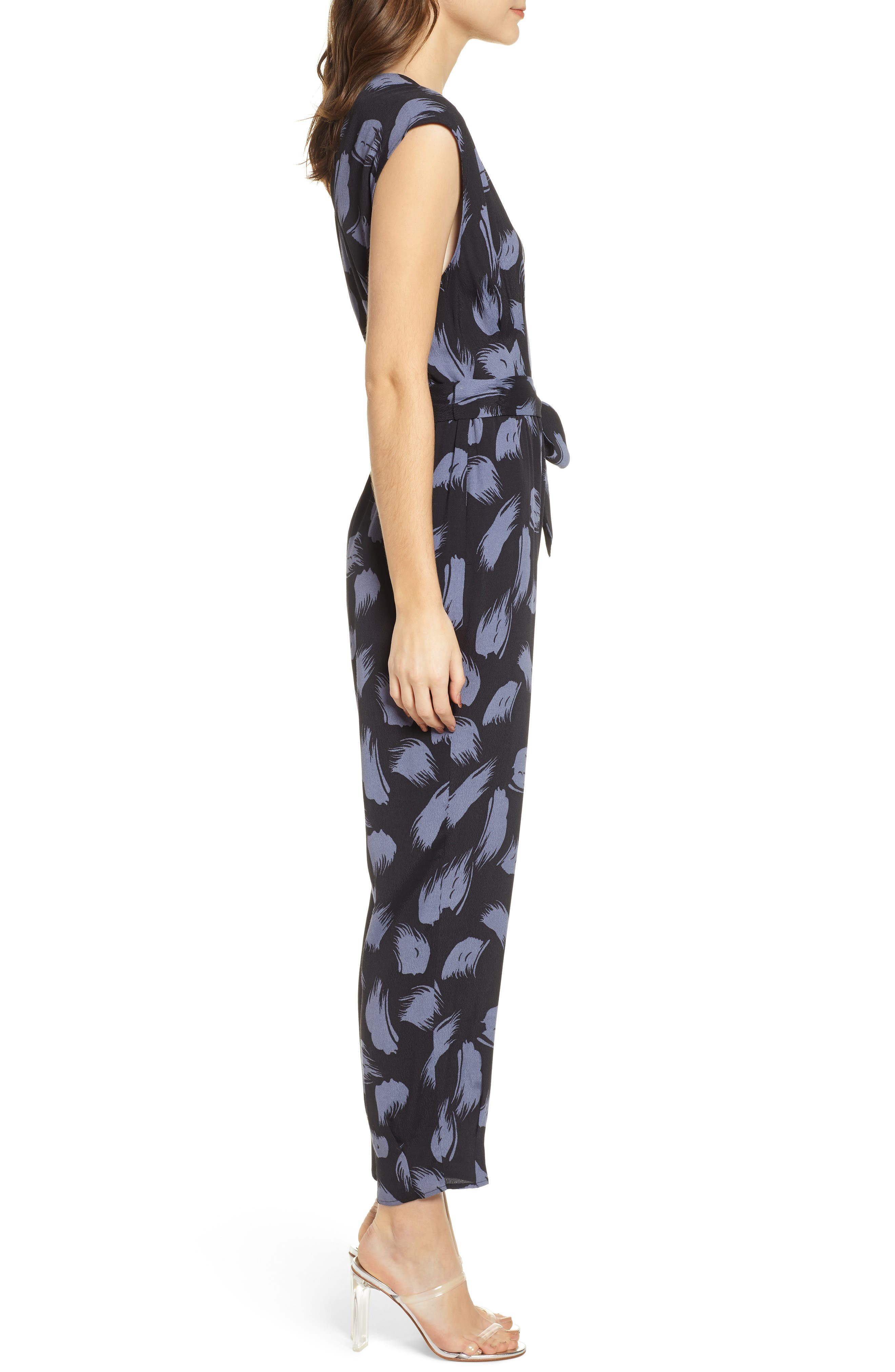 ,                             Tie Waist Print Jumpsuit,                             Alternate thumbnail 6, color,                             001