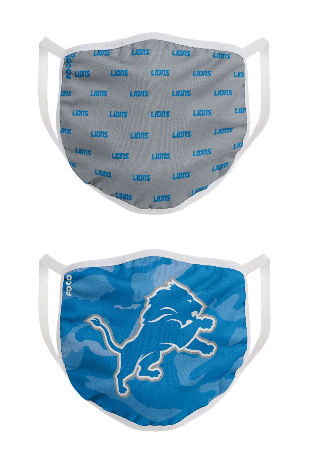 Image of FOCO NFL Detroit Lions Clutch Printed Face Cover - Pack of 2