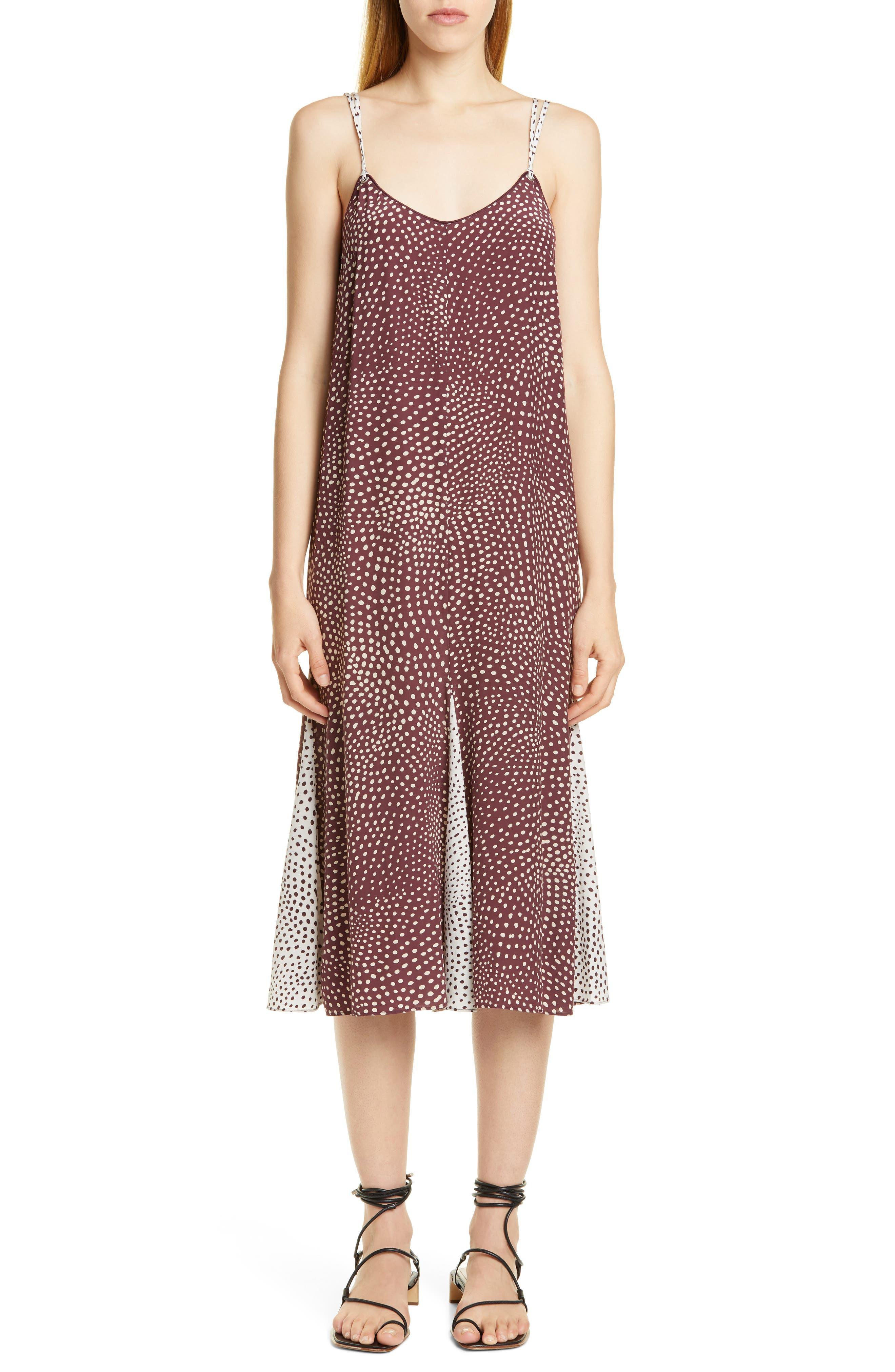 Rag & Bone Dirdre Dot Print Midi Dress, Burgundy