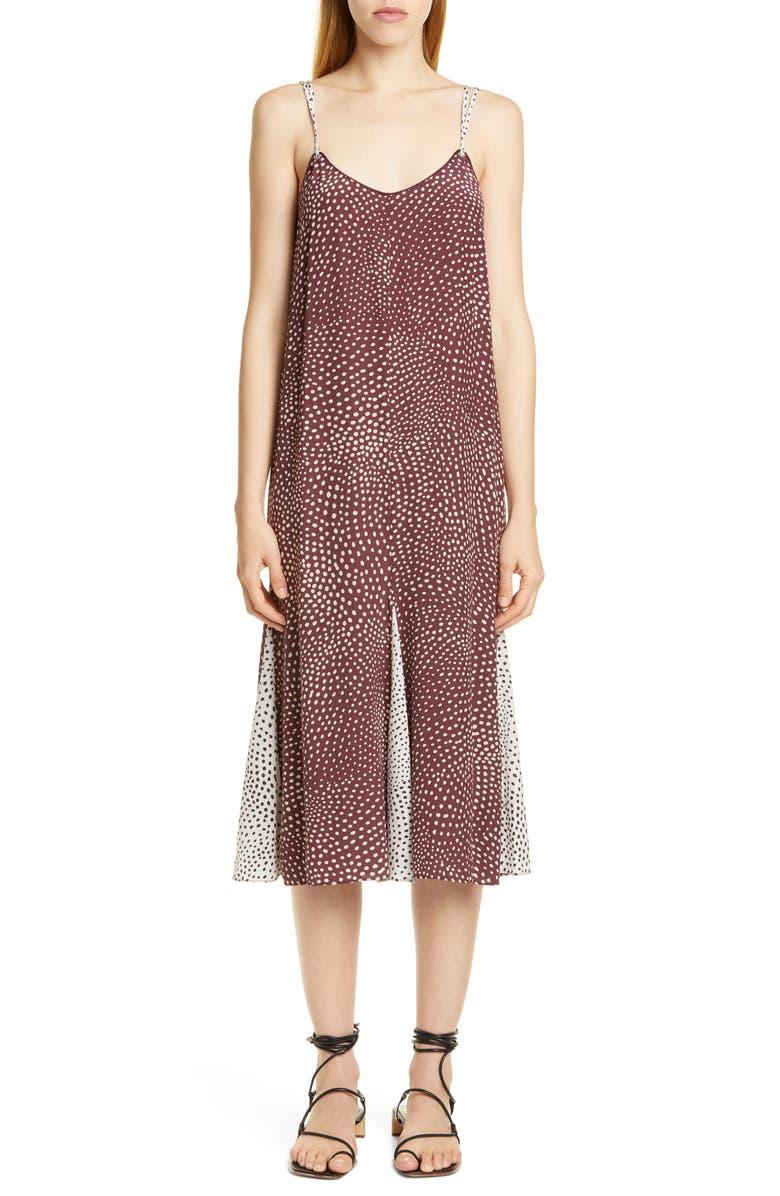 RAG & BONE Dirdre Dot Print Midi Dress, Main, color, WINE MULTI