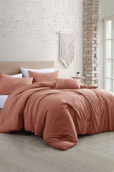 Image of Modern Threads 4-Piece Garment-Washed Comforter Set - Beck Dark Rose - Queen