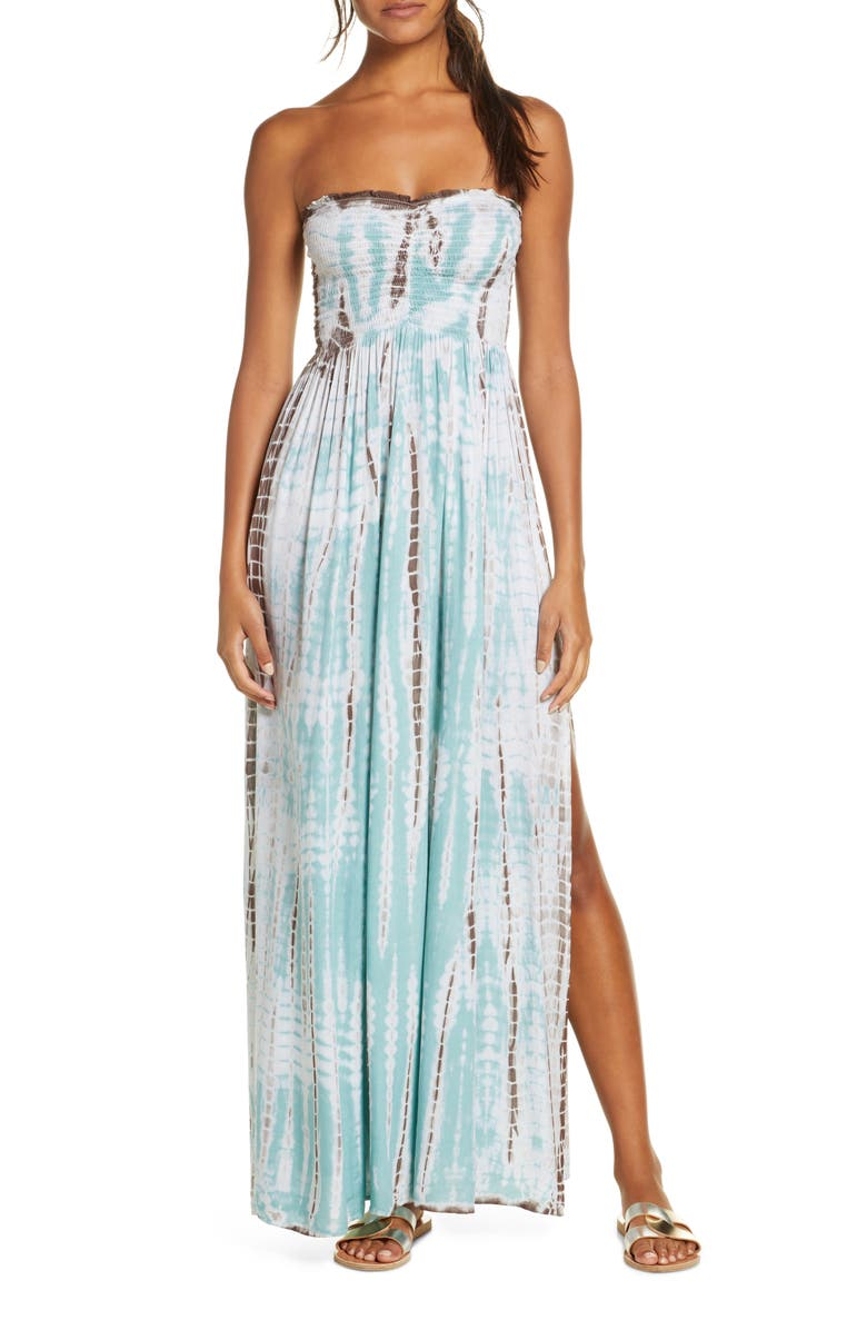 ELAN Strapless Cover-Up Maxi Dress, Main, color, SEAFOAM TA
