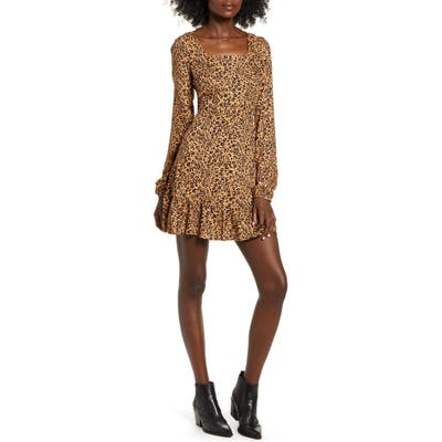 Love, Fire Leopard Print Long Sleeve Minidress, Brown