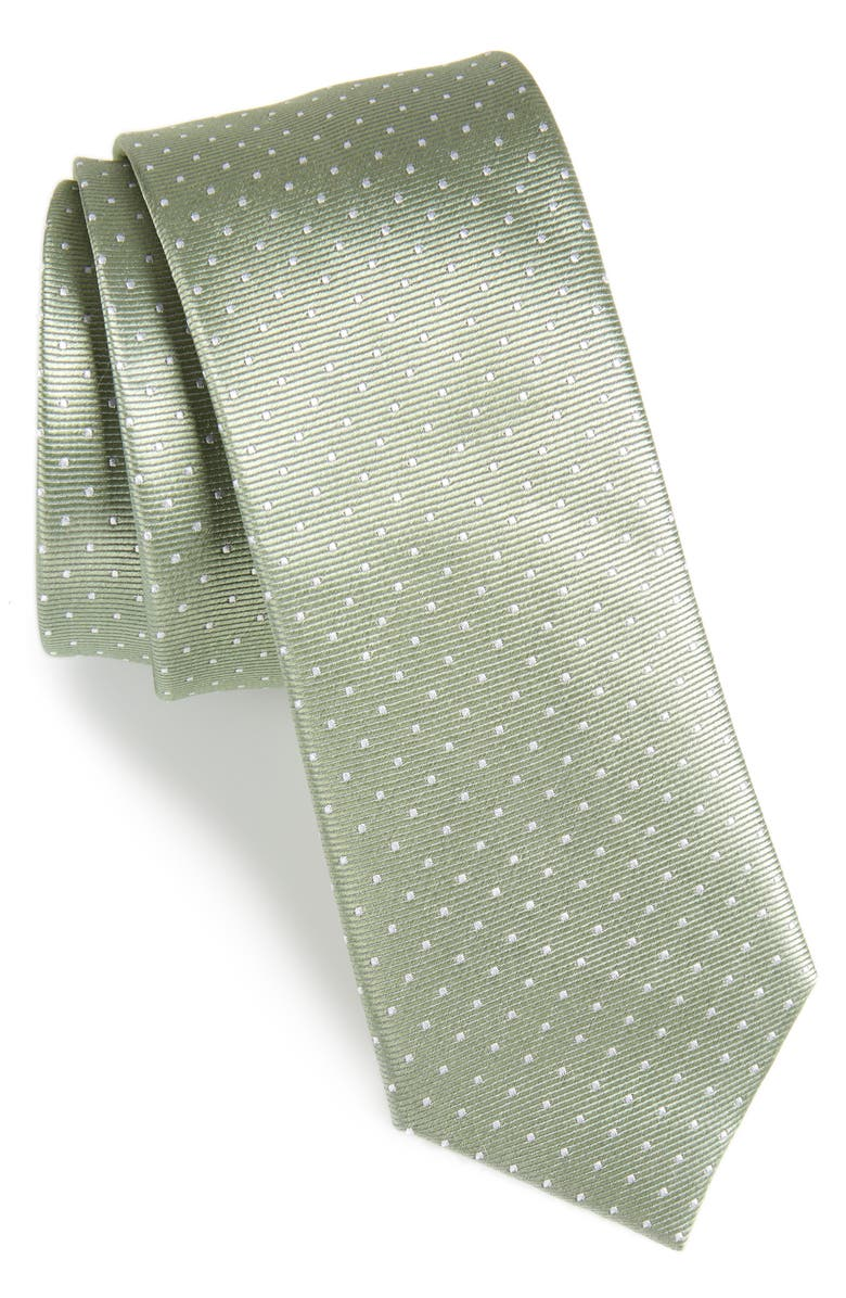 THE TIE BAR Mini Dots Silk Tie, Main, color, SAGE GREEN