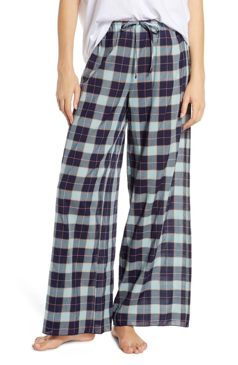 BP. Faye Wide Leg Pajama Pants, Main, color, NAVY PEACOAT KIPLEIGH PLAID