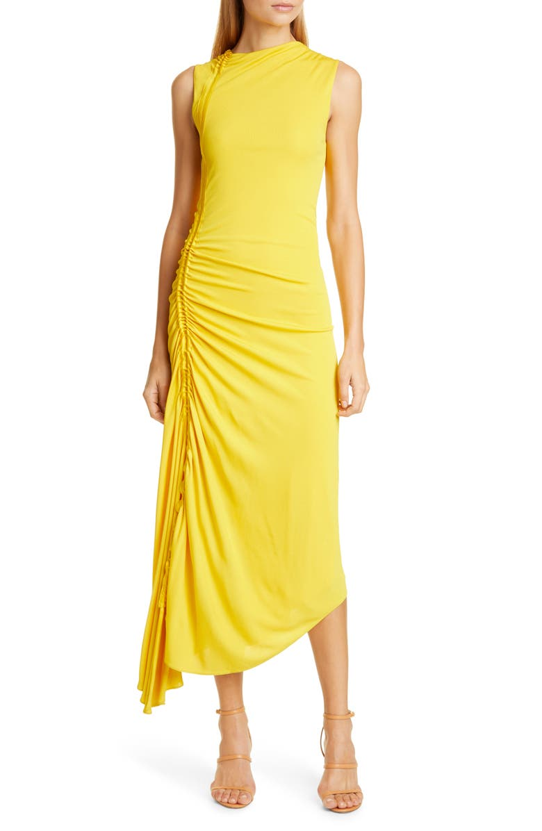 SIES MARJAN Fontana Ruched Matte Jersey Midi Dress, Main, color, CORN