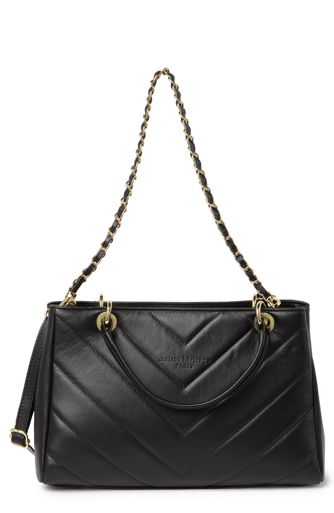 Image of Maison Heritage Evi Sac Main Quilted Leather Shoulder Bag