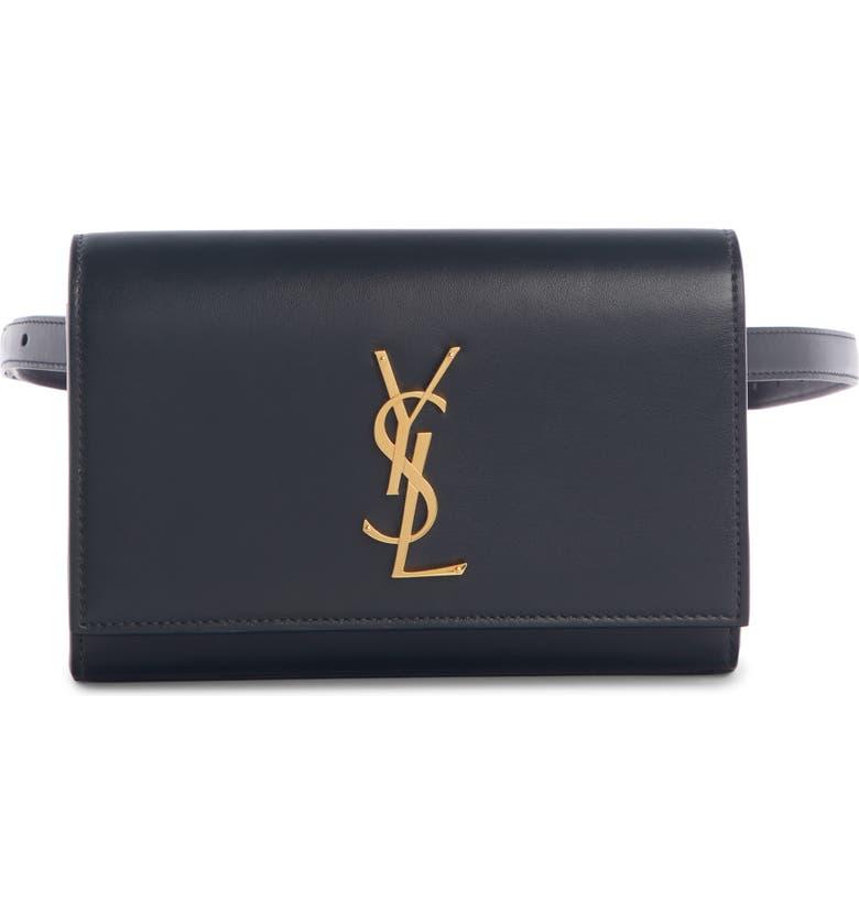 SAINT LAURENT Kate Leather Belt Bag, Main, color, NOIR