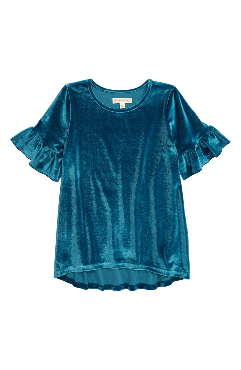 TUCKER + TATE Velvet Ruffle Top, Main, color, TEAL CORAL
