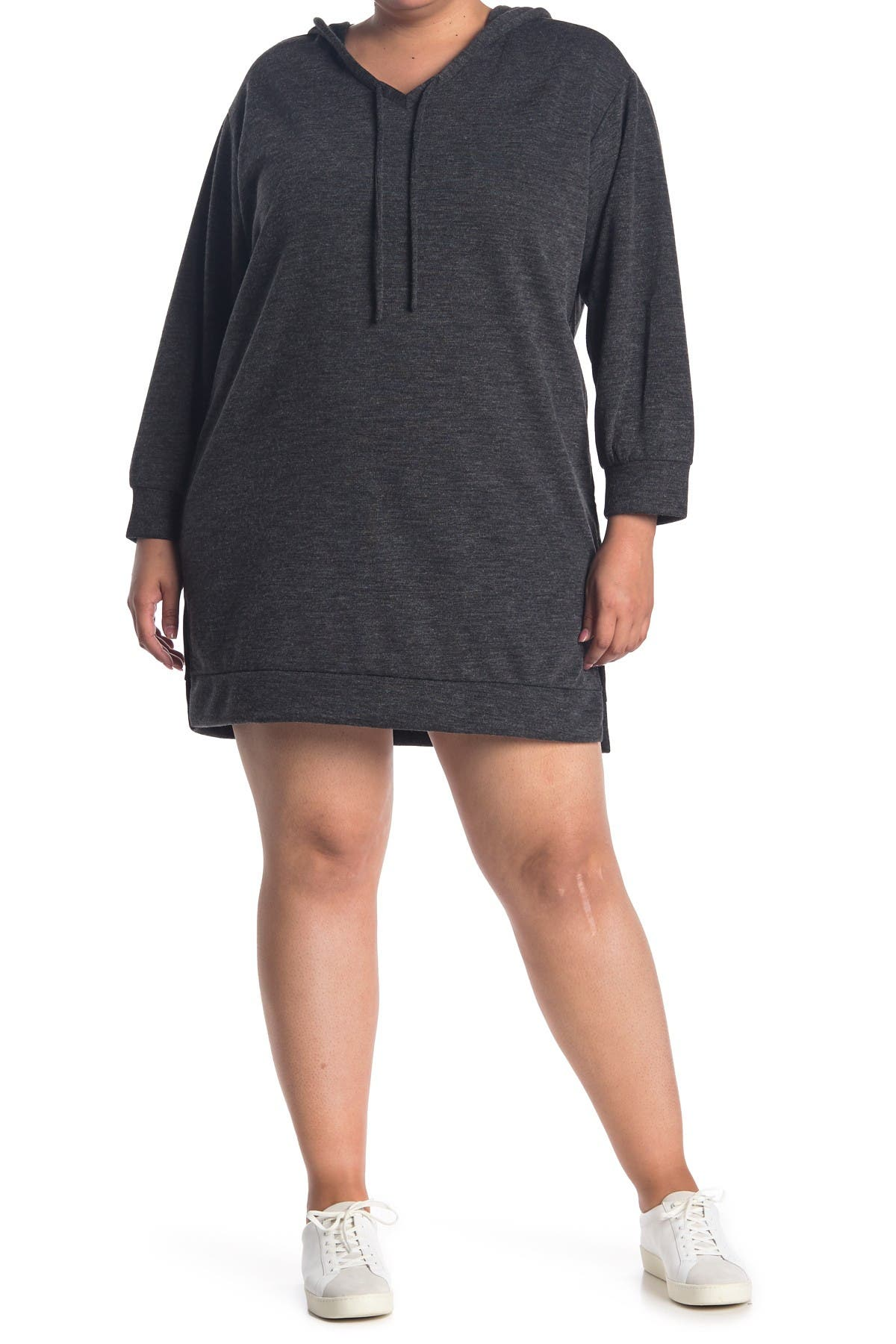 Image of ECLAIR Hacci Knit Hooded Sweatshirt Dress