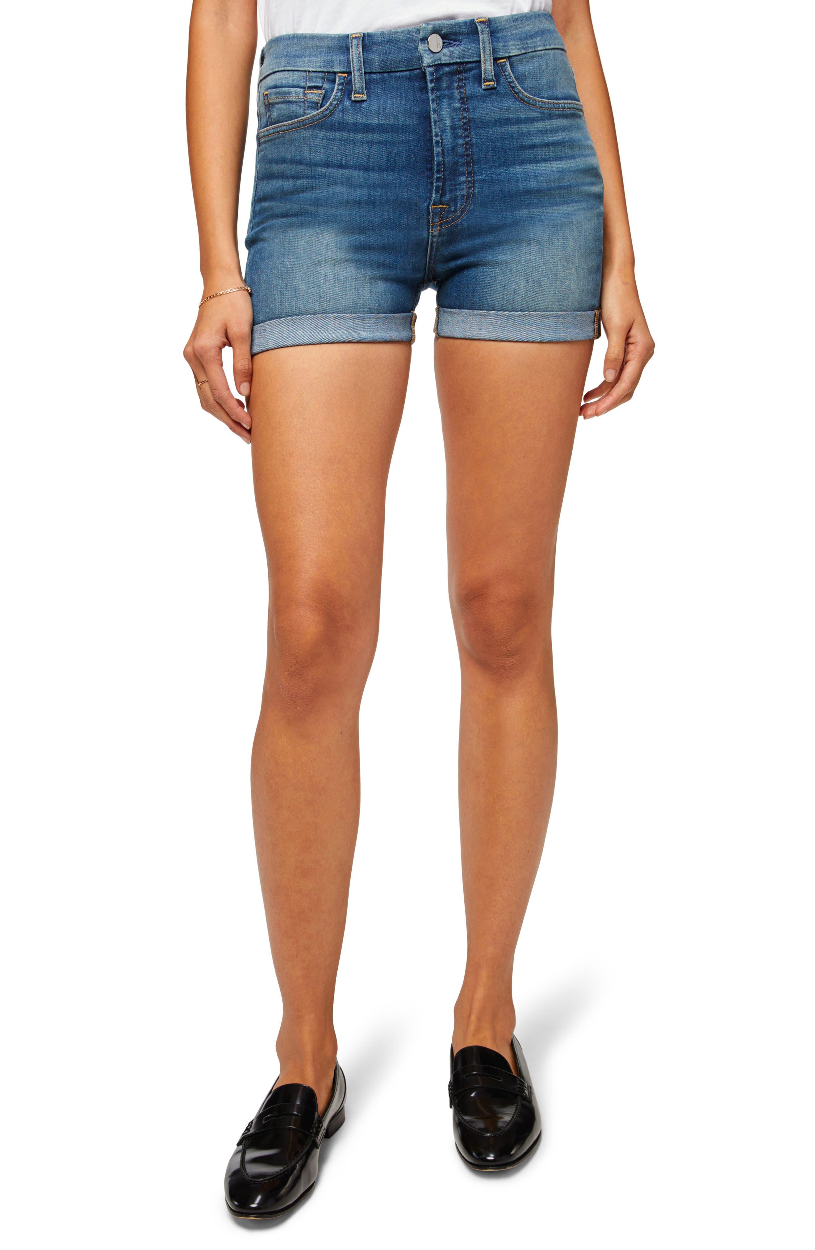 High Waist Roll Cuff Denim Shorts