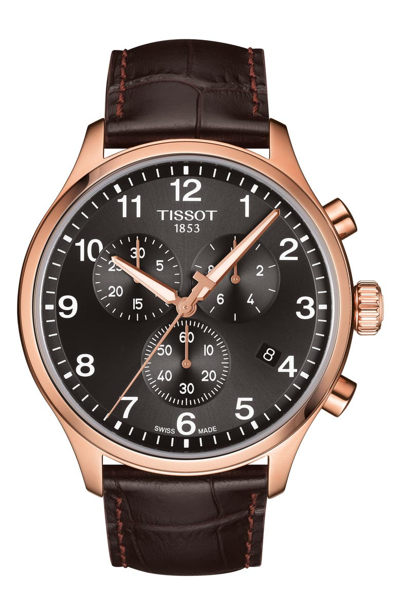 TISSOT Chrono XL Collection Chronograph Leather Strap Watch, 45mm, Main, color, BROWN/ BLACK/ ROSE GOLD