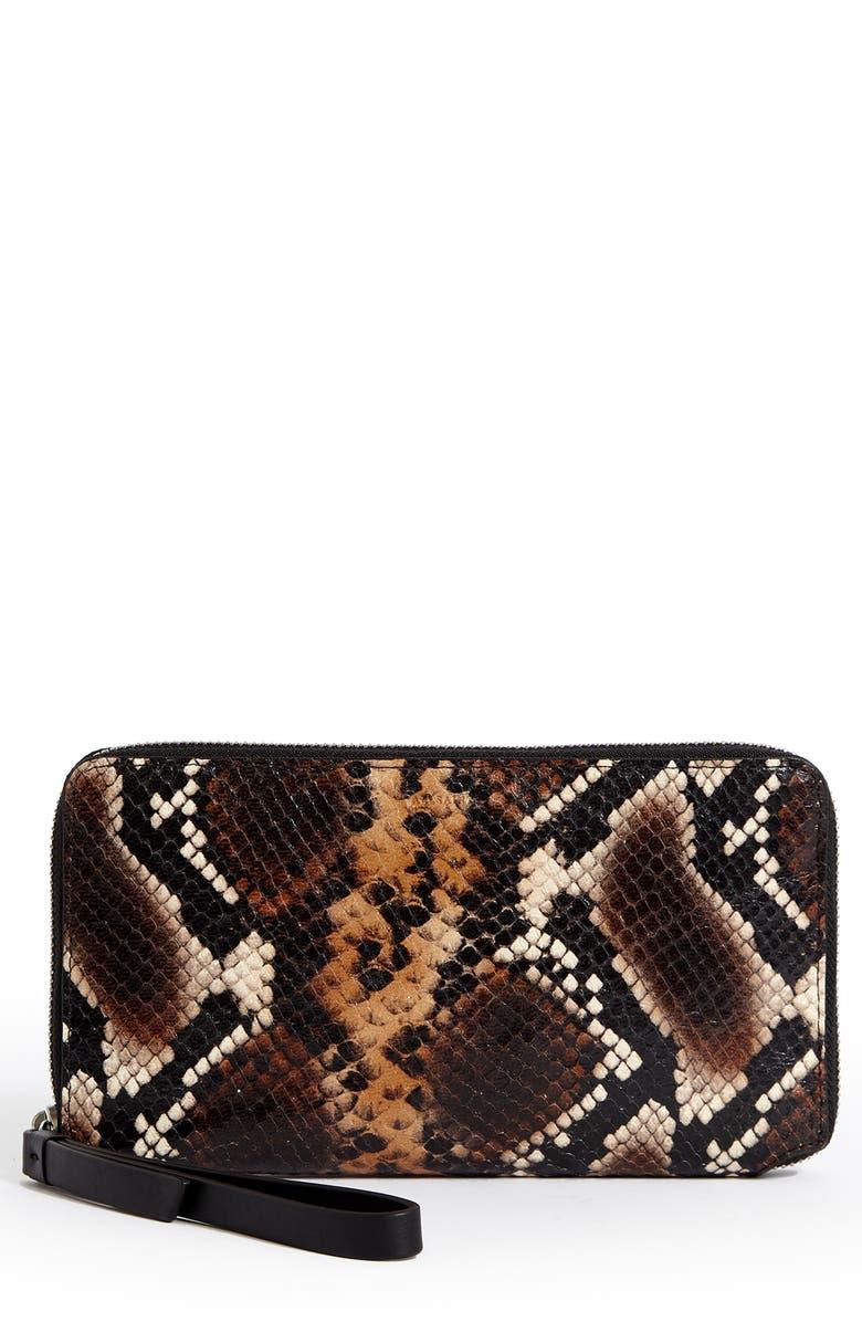 ALLSAINTS Sliver Snakeskin Embossed Leather Smartphone Wristlet, Main, color, 200