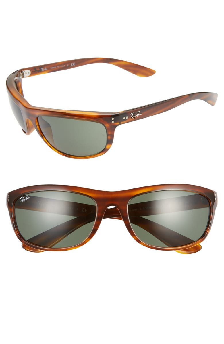 RAY-BAN 62mm Wraparound Sunglasses, Main, color, RED HAVANA/ GREEN
