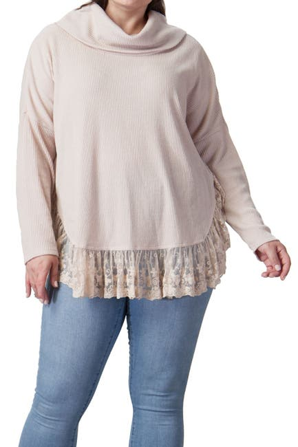 Image of A.Calin Lace Hem Cowl Neck Sweater