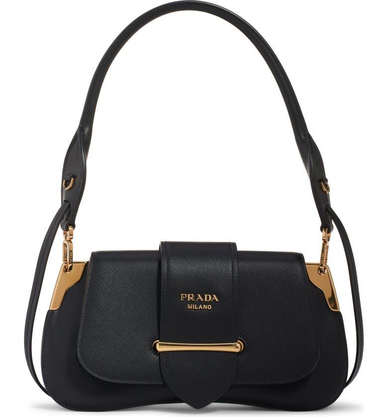 PRADA Saffiano Leather Top Handle Bag, Main, color, NERO