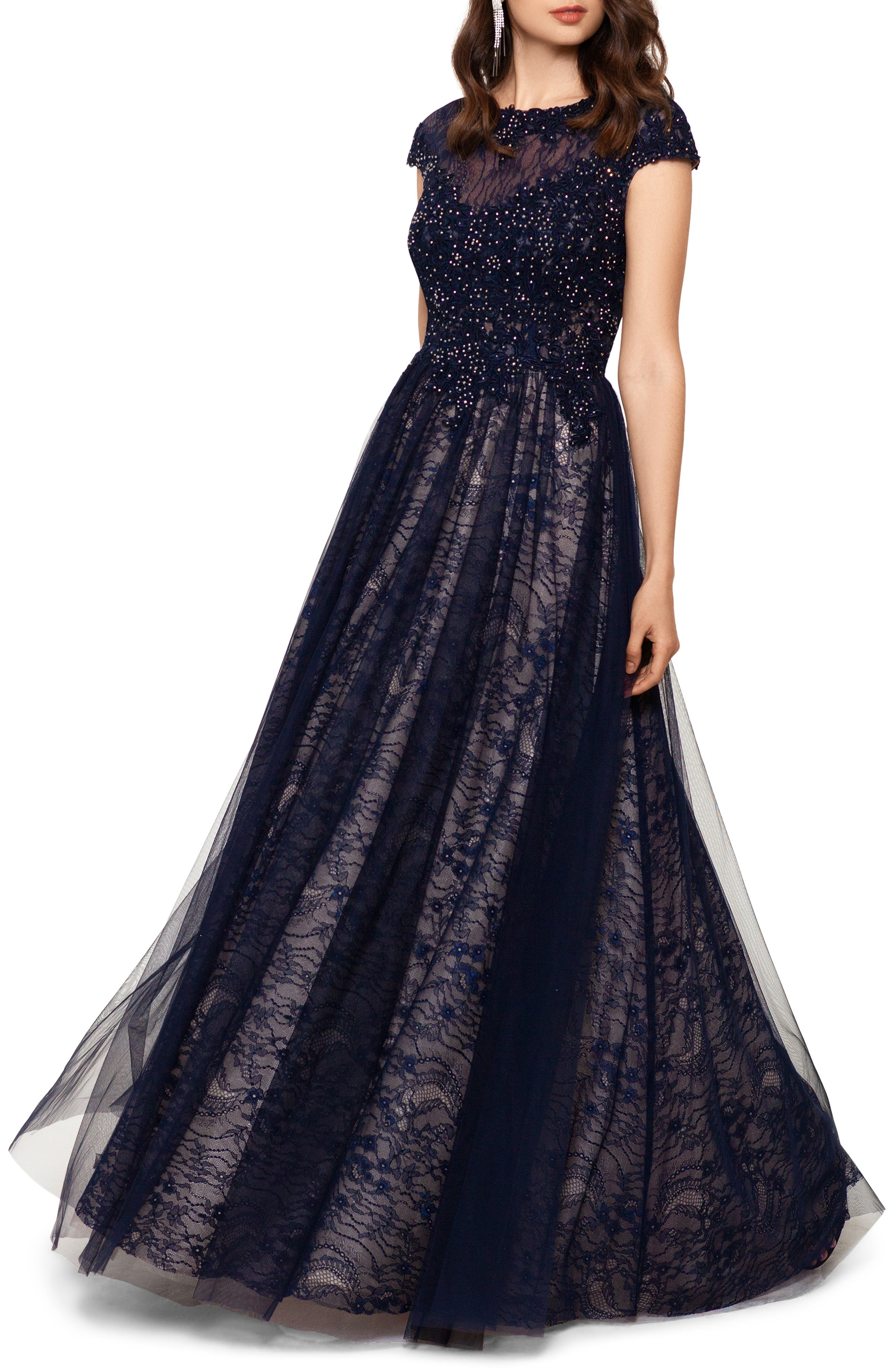 1940s Evening, Prom, Party, Formal, Ball Gowns Womens Xscape Lace Ballgown Size 8 - Blue $288.00 AT vintagedancer.com