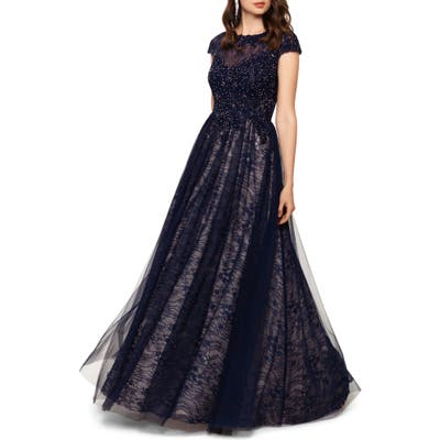 Xscape Lace Ballgown, Blue