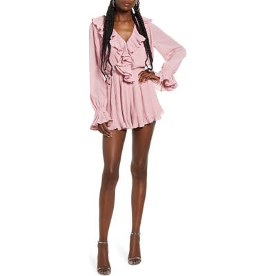 Endless Rose Ruffled Pleat Romper, Pink
