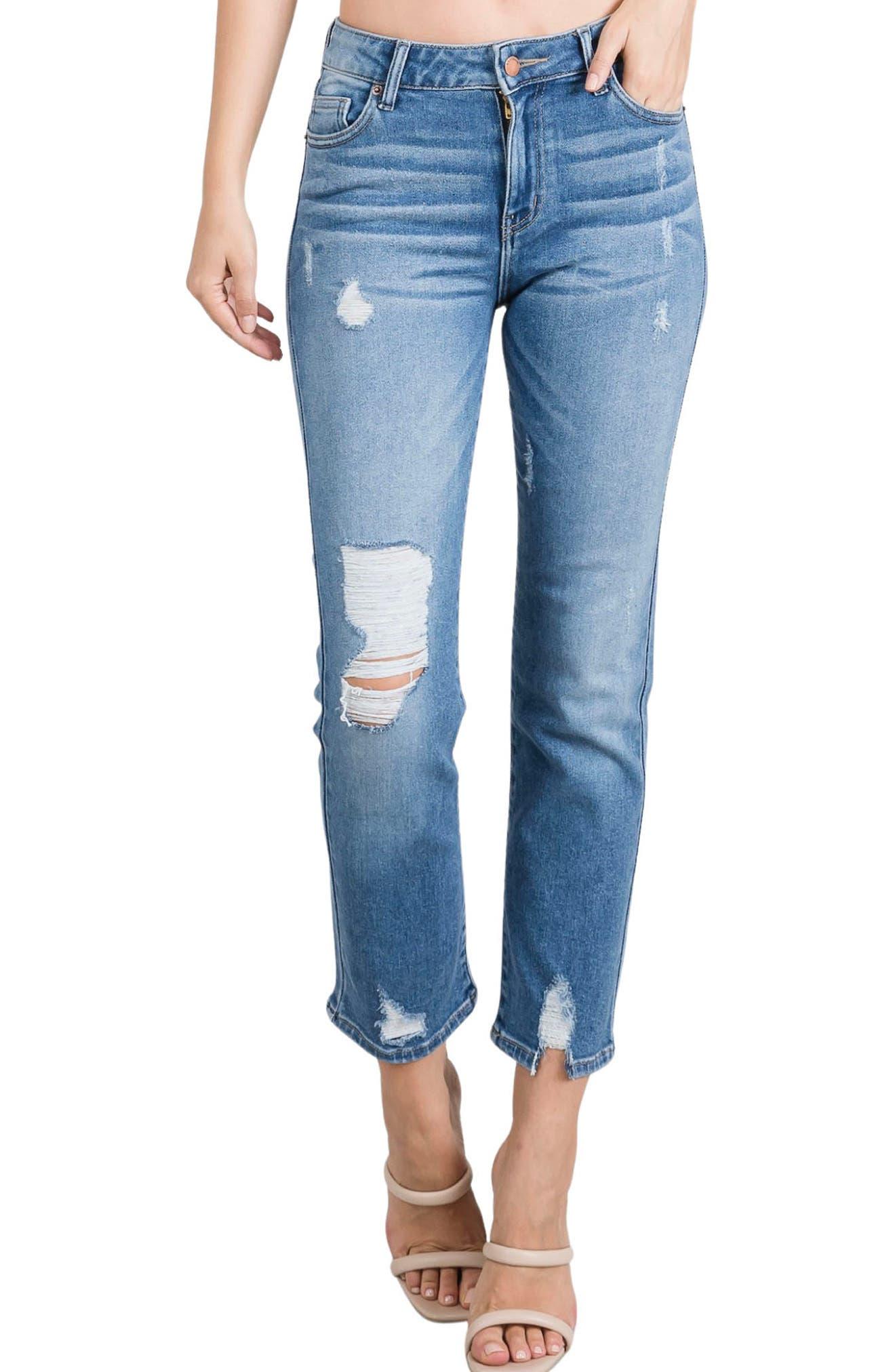 Sienna Ripped High Waist Straight Leg Jeans