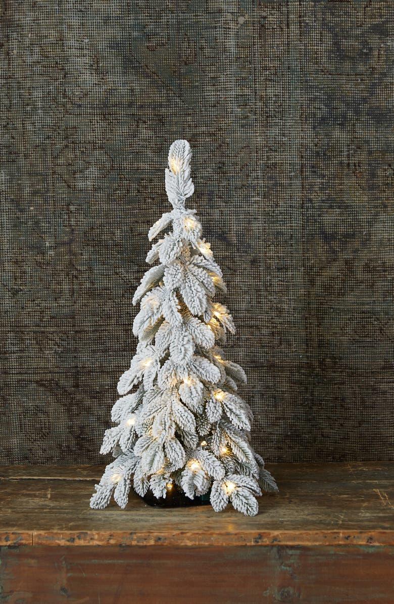 TERRAIN Mini Pre-Lit Snowy Alpine Tree Decoration, Main, color, WHITE