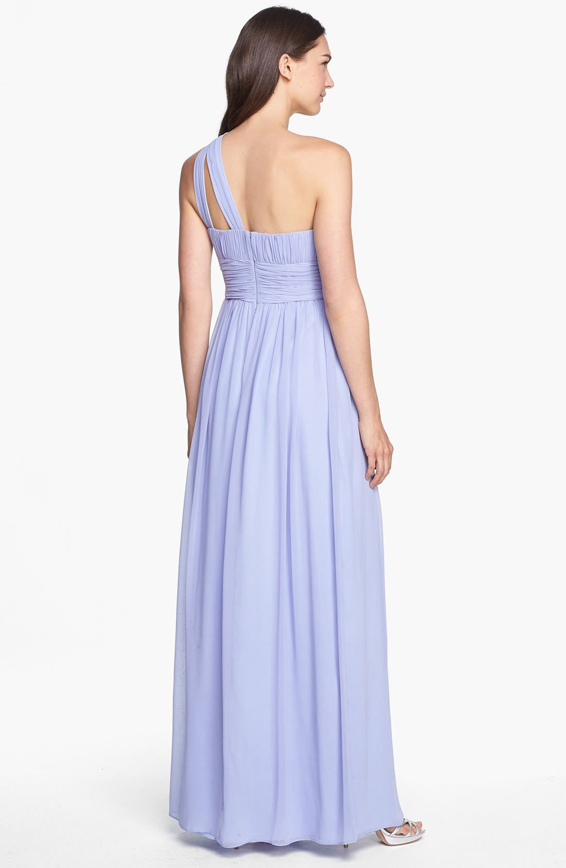 ,                             'Rachel' Ruched One-Shoulder Chiffon Gown,                             Alternate thumbnail 91, color,                             527