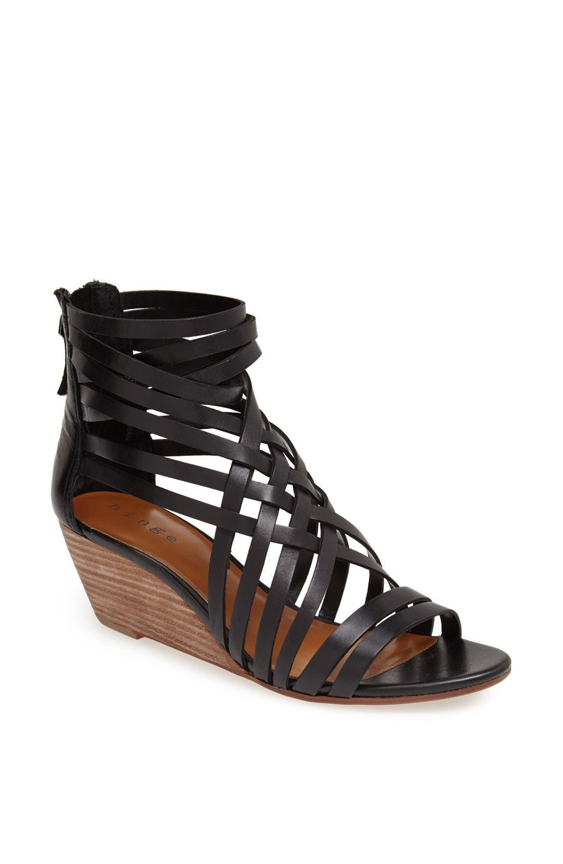 ,                             'Neta' Leather Wedge Sandal,                             Main thumbnail 1, color,                             001