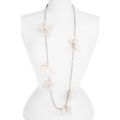Stella + Ruby Long Beaded Chiffon Necklace