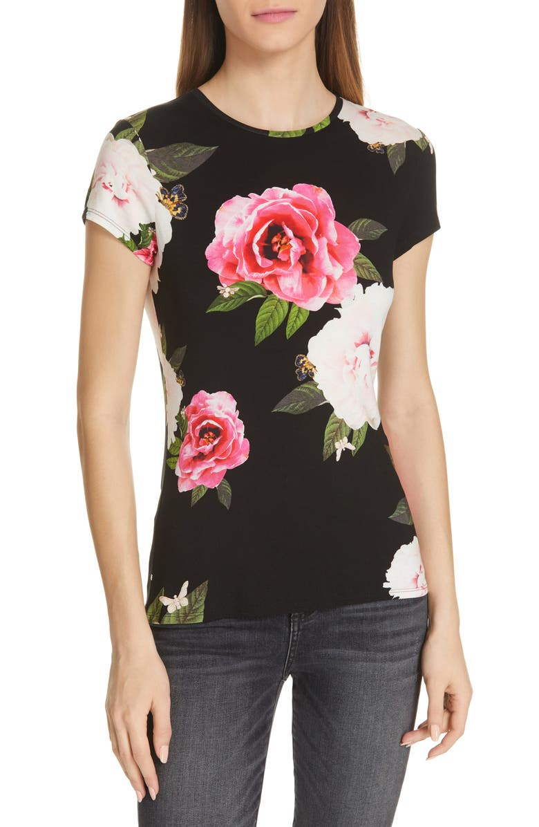 TED BAKER LONDON Alanyo Magnificent Fitted Tee, Main, color, 001