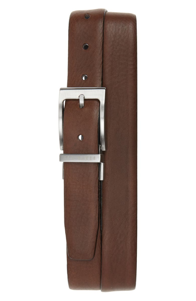 TED BAKER LONDON Reversible Leather Belt, Main, color, CHOCOLATE