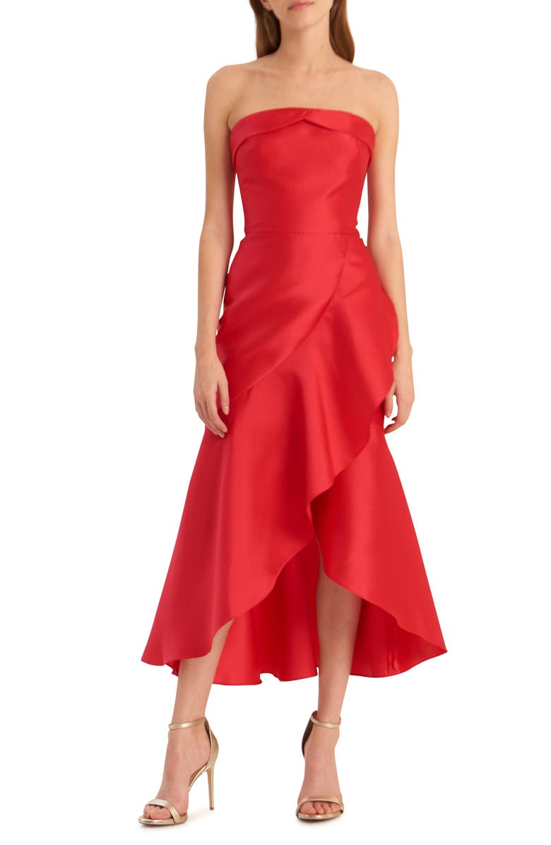 ML MONIQUE LHUILLIER Strapless Satin Cocktail Dress, Main, color, RASPBERRY