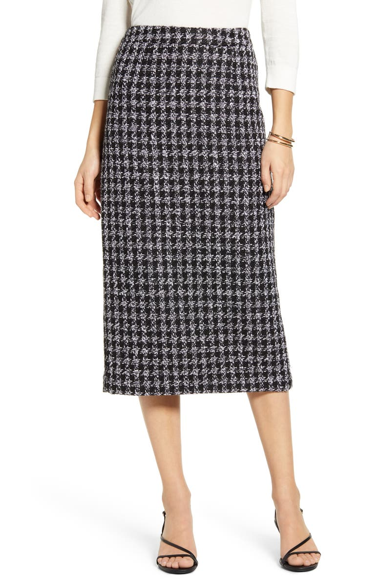 HALOGEN<SUP>®</SUP> Houndstooth Check Tweed Pencil Skirt, Main, color, 001
