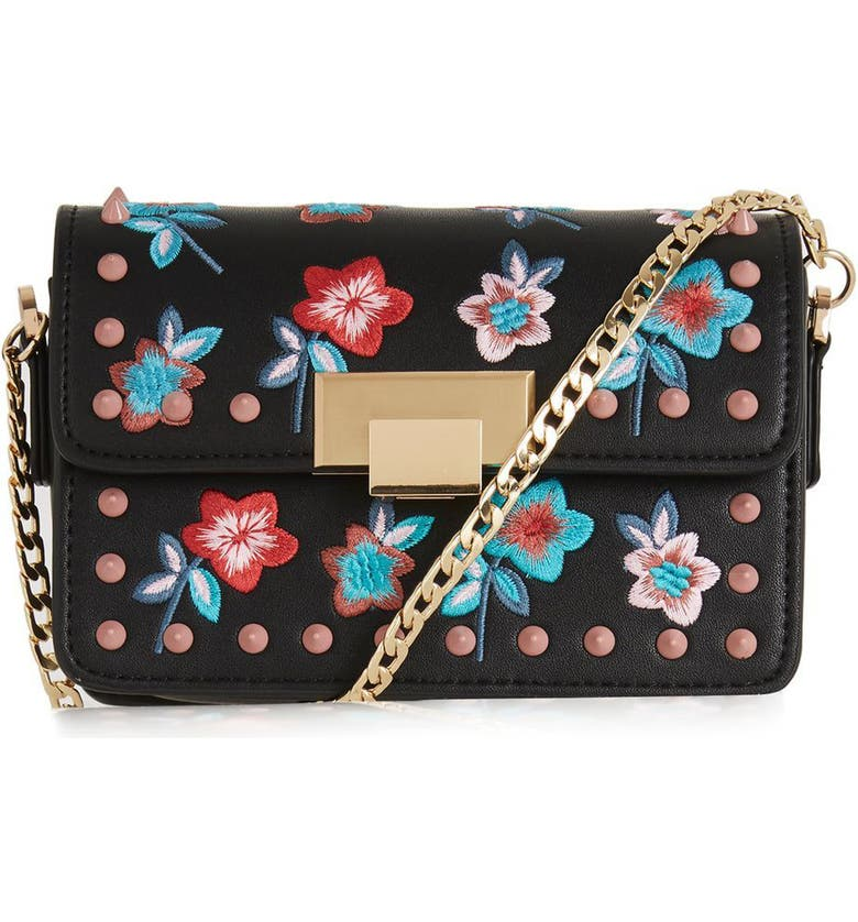 TOPSHOP Rosie Floral Stud Faux Leather Crossbody Bag, Main, color, 001
