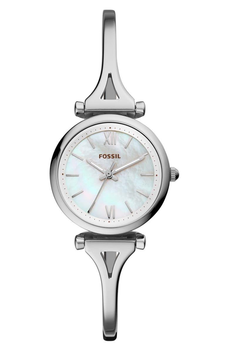 FOSSIL Mini Carlie Bracelet Watch, 28mm, Main, color, 040