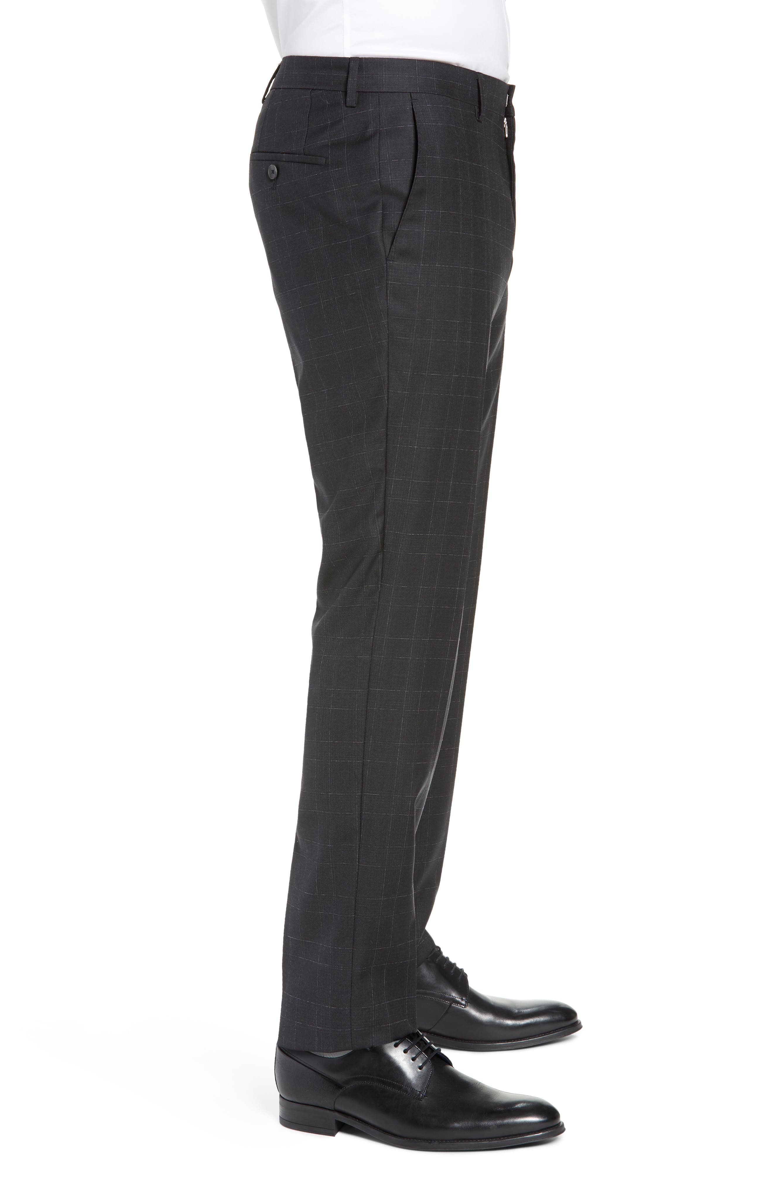,                             Genesis Flat Front Plaid Wool Trousers,                             Alternate thumbnail 4, color,                             020