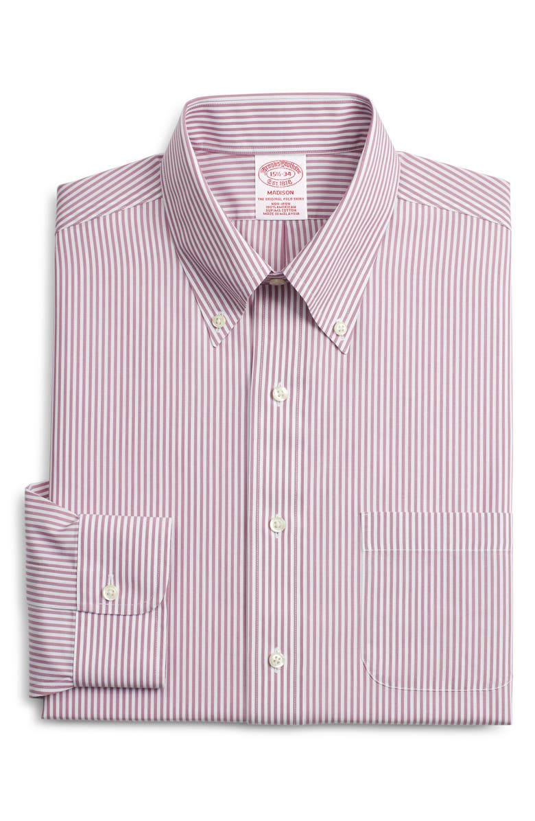 BROOKS BROTHERS Madison Classic Fit Stripe Dress Shirt, Main, color, PINK