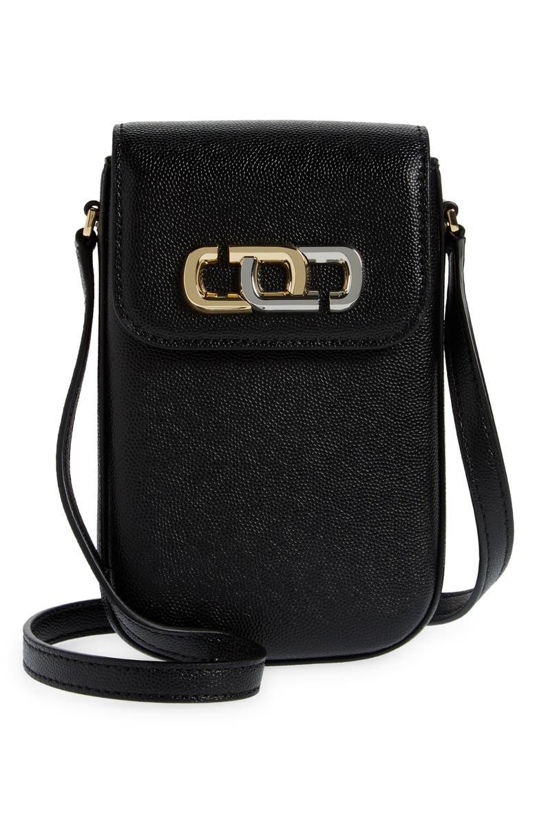 MARC JACOBS Logo Leather Phone Crossbody Bag, Main, color, BLACK
