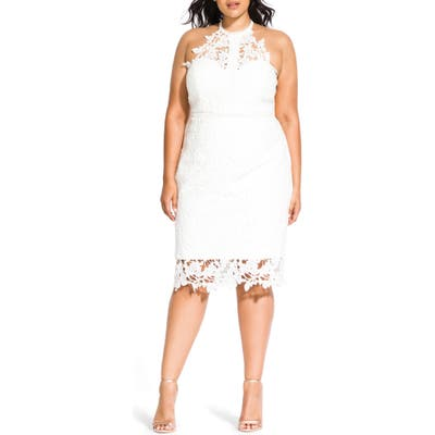 Plus Size City Chic Victorian Lace Cocktail Dress, Ivory