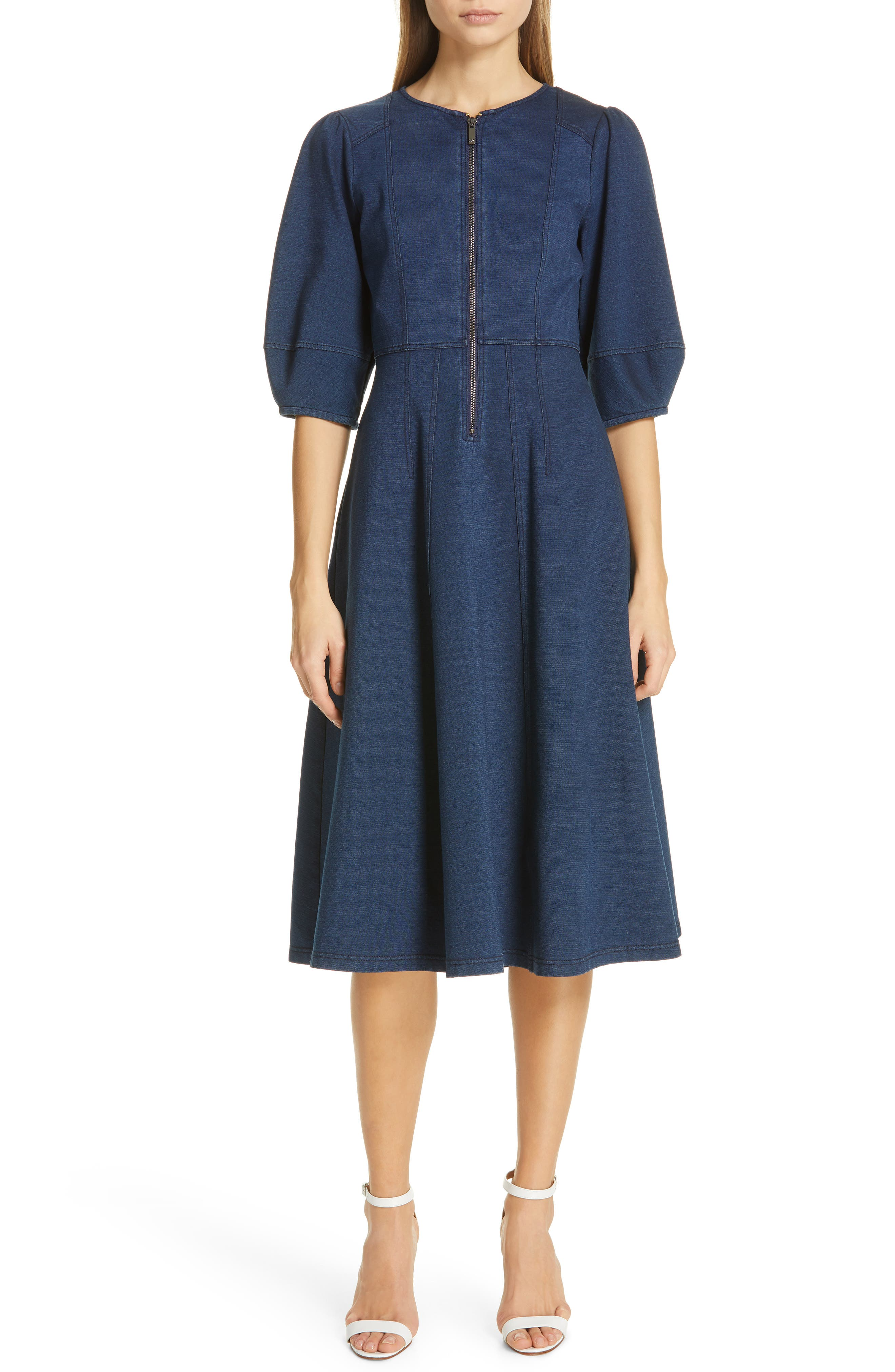 Dvf Thea Balloon Sleeve Zip Front Dress, Blue