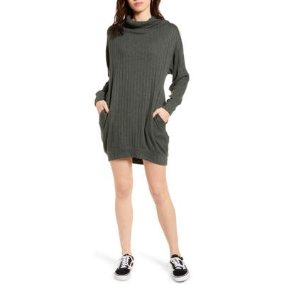 All In Favor Funnel Neck Rib Dress, Green